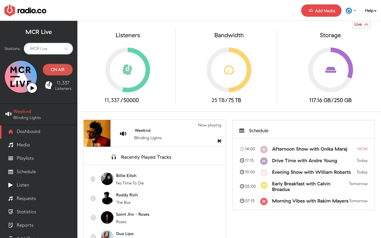 Radio.co dashboard (MCR.Live)